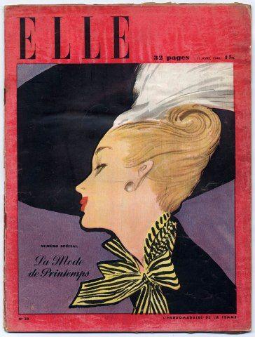 ELLE (Belgique) N°20 du 11 Avril 1946 La Mode de Printemps René Gruau Schiaparelli Balmain Piguet Lelong