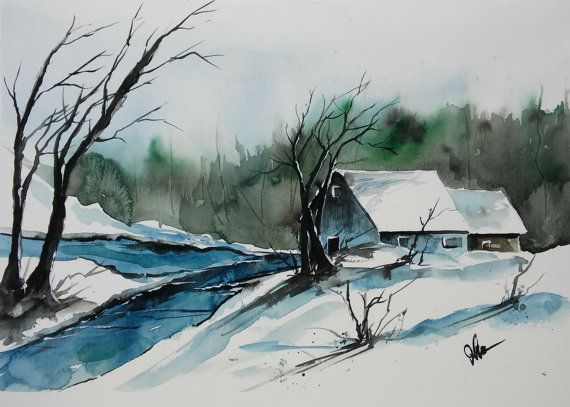 290 idées de Aquarelle hiver | aquarelle, paysage de neige, paysage hiver