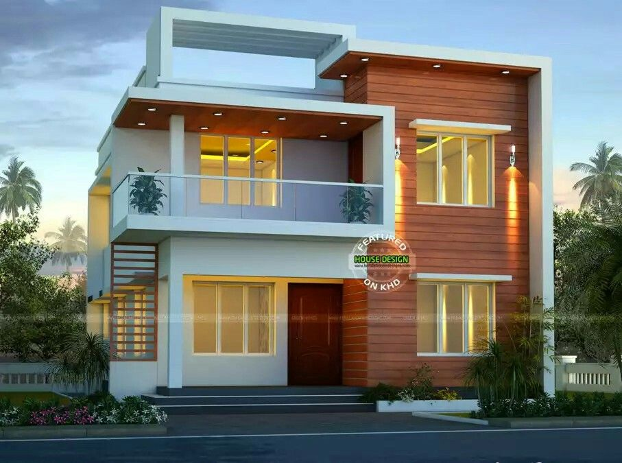 Front Design Of Small House In India Double Story Part - 31: This Small Modern Double Storey Home Has Total Area Of 1900 Square Feet  Square Meter) Square Yards) With 4 Bedrooms In Beautiful Modern Look.