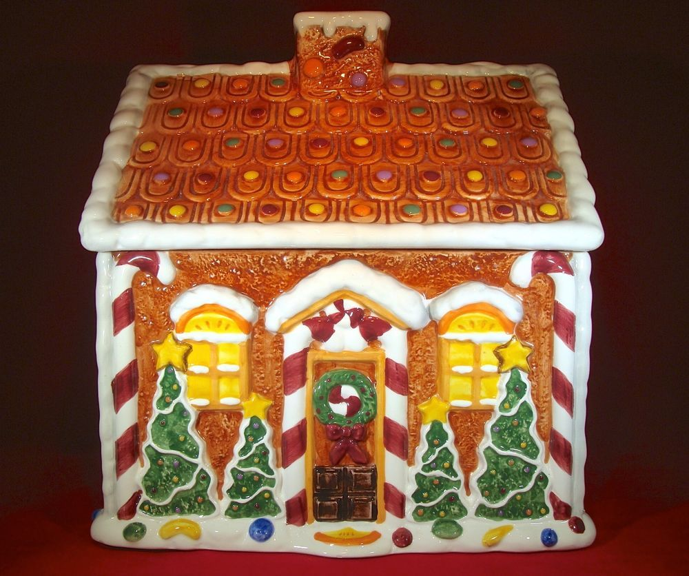 christmas holiday gingerbread house cookie jar cookie jars christmas holiday gingerbread house cookie jar with jelly beans candy canes in collectibles kitchen