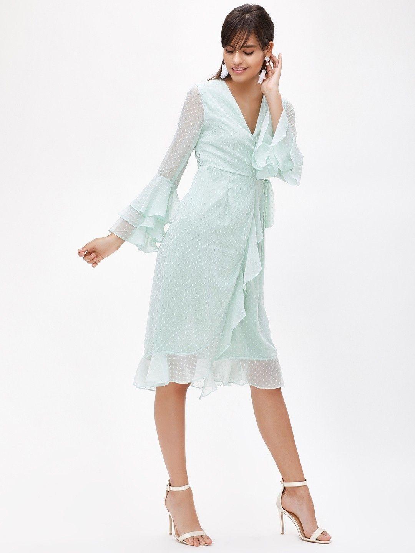 Buy Frill Wrap Midi Dress For Women - Women\'s Green Midi Dresses ...