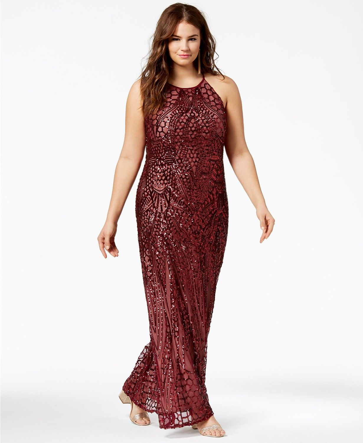 cf8394716a0 Morgan   Company Trendy Plus Size Sequin-Patterned Backless Gown - Dresses  - Plus Sizes - Macy s