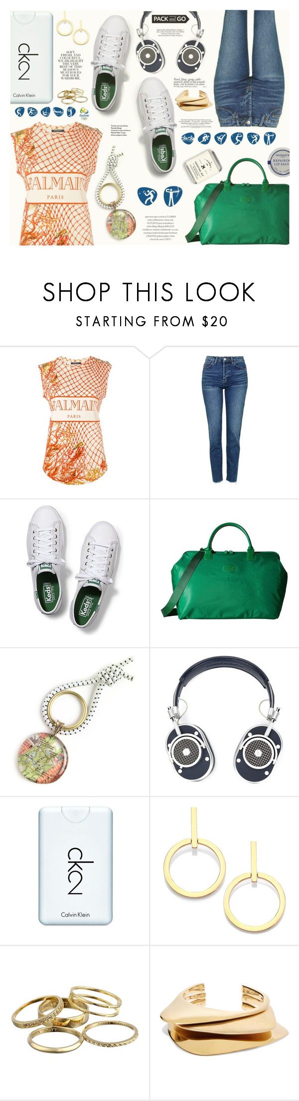 """Pack and Go: Rio"" by katarina-blagojevic ❤ liked on Polyvore featuring Balmain, Topshop, Keds, Lipault, Chart Metal Works, Master & Dynamic, Calvin Klein, Opening Ceremony, Folio and Vita Fede"