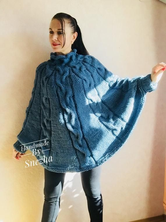 Knit Poncho Sweater Women Plus Size Chunky Wool Crochet Poncho Alpaca Loose Cable Hand Knit Oversize