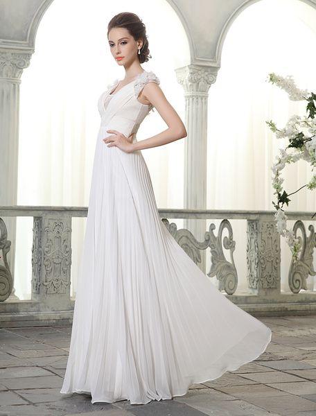 Robe de Mariée Bohème plage col V robe de mariée en mousseline de soie avec fleurs Milanoo