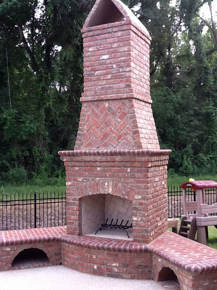 Fireplace Design outdoor brick fireplace : Don't forget about your outdoor space. Add a brick fireplace with ...