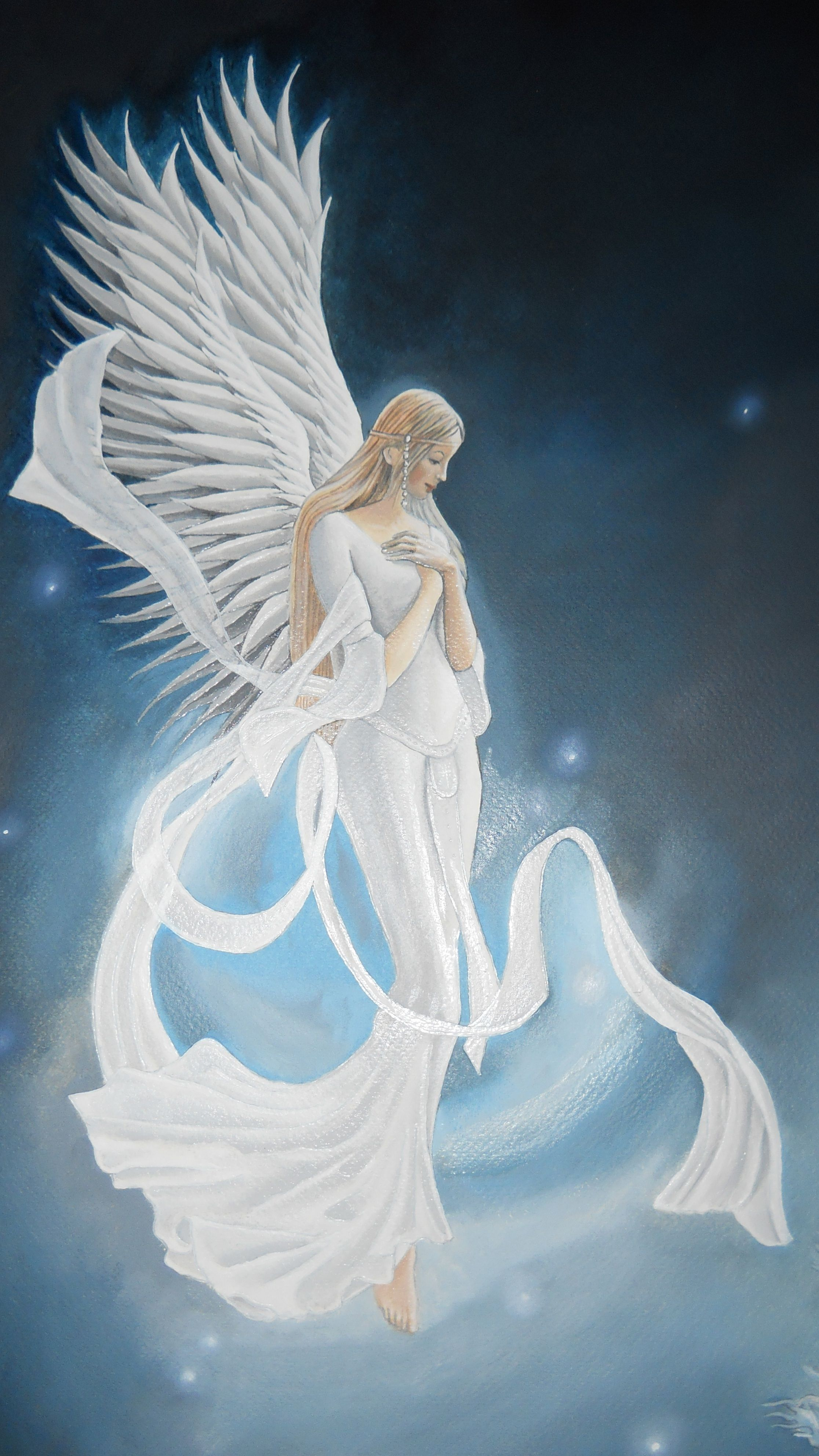 """Photo of """"Heaven Sent""""  by Raven Wing Hughes   oil on paper"""