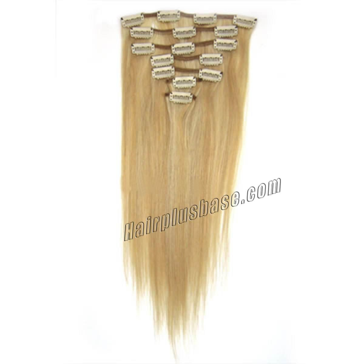 26 Inch 27613 Blonde Highlight Clip In Remy Human Hair Extensions