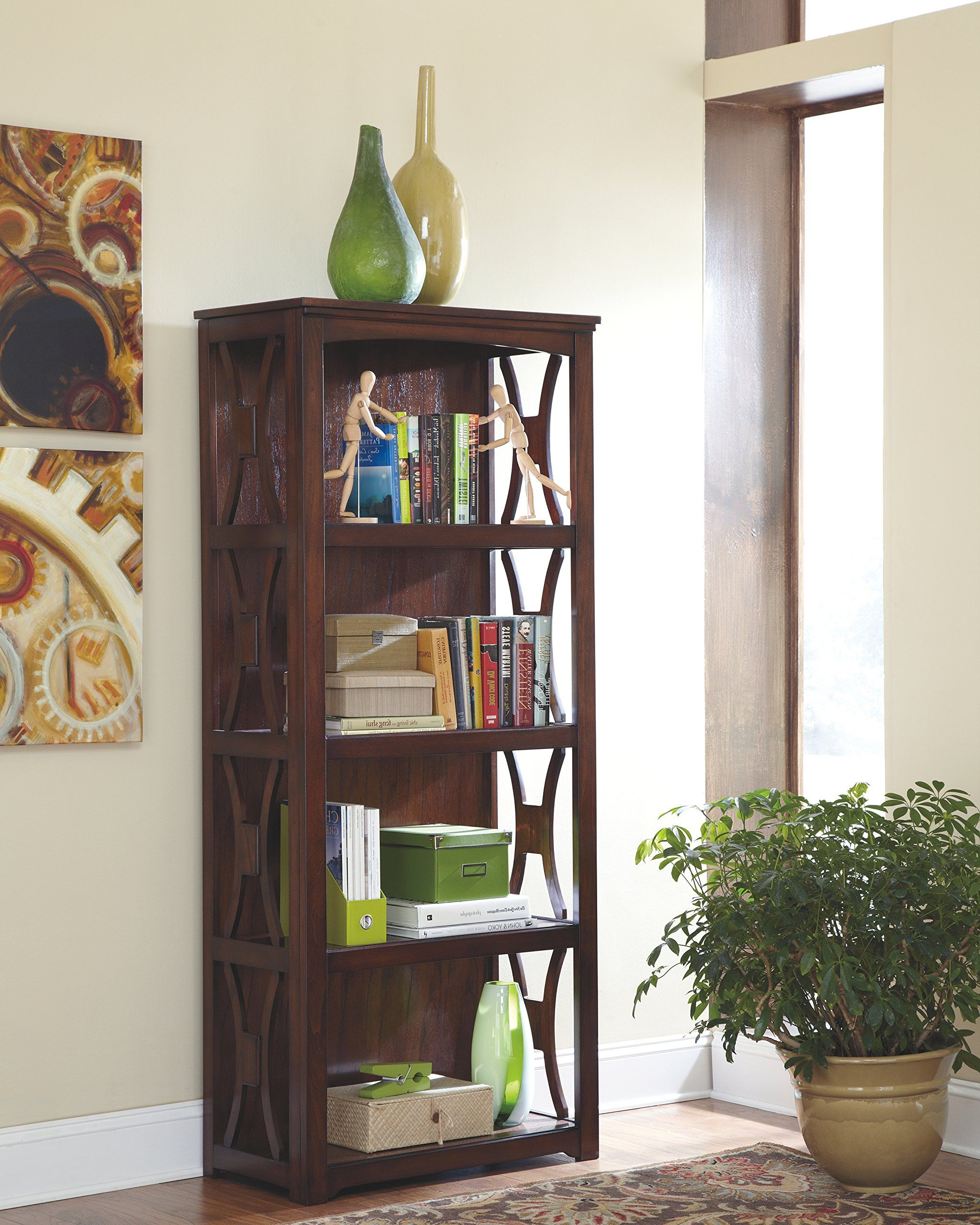 Ashley Furniture Signature Design Devrik Bookcase 4 Shelves Curved