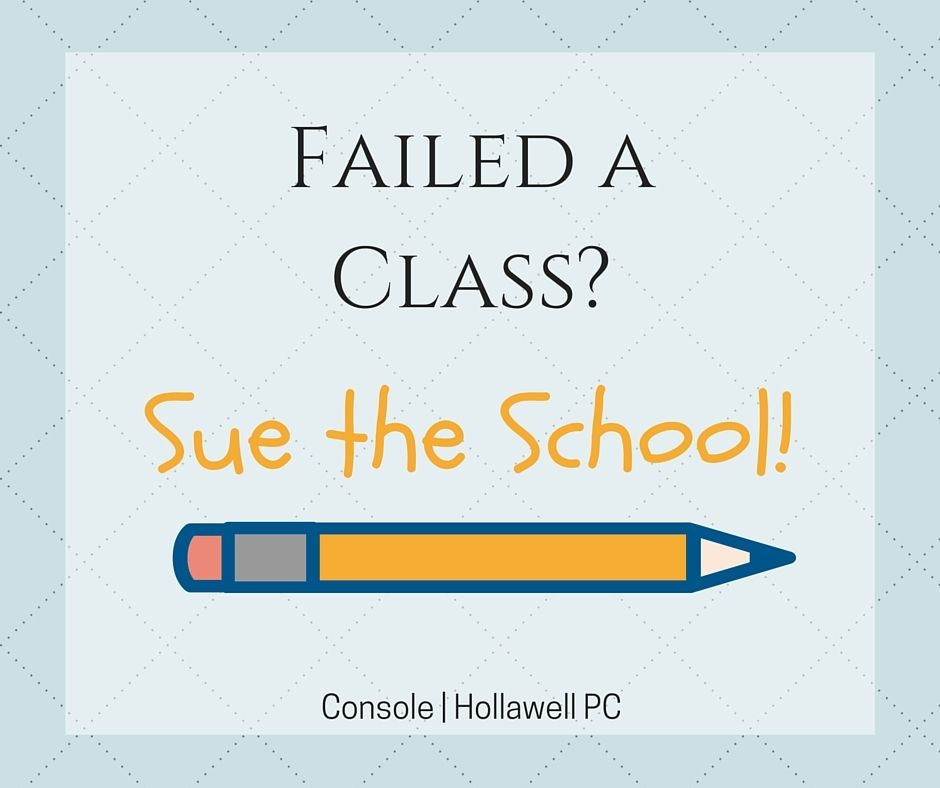 PA woman seeks $75,000 in damages after failing a course TWICE in #school . http://www.consoleandhollawell.com/law-blog/woman-sues-school-for-failing/#utm_sguid=142440,a49c7a55-fbcf-ee99-a104-895c59d4b6e2