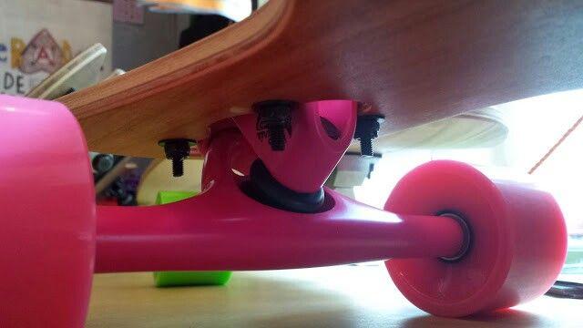 Bareknuckel Longboard with pink Paris Truck and pink zigzag wheels