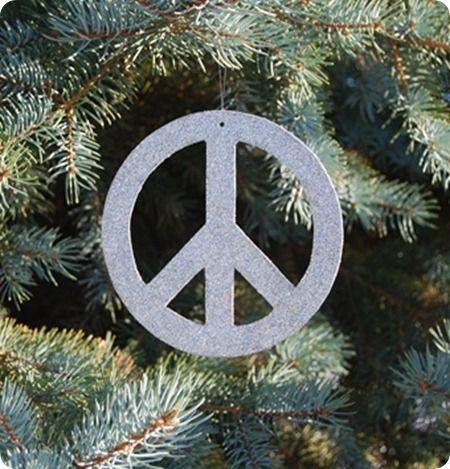 Pottery Barn Inspired Diy Glitter Peace Sign Ornament Yule Tree