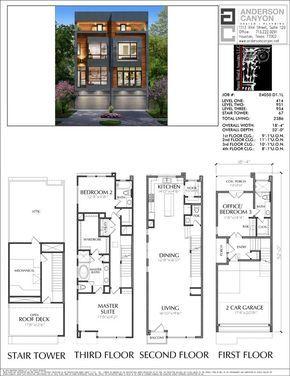 3 1 2 Story Duplex Townhouse Plan E4050 Narrow House Plans Townhouse Designs Duplex House Plans