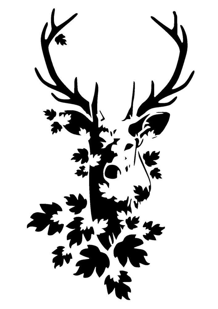 stag head stencil 1 craft,fabric,glass,furniture,wall art up to A0
