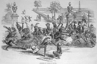 """Festival, Havana, Cuba, 1847. This sketch of the Twelfth Day Festival, or """"Day of the Kings, as it is called in Havana"""" was taken by an English visitor to Havana on 6 January 1847, and sent to the Illustrated London News which reports """"It represents an annual custom--a kind of Saturnalia--permitted by the authorities to the Slaves or Negroes of what they call 'Nacion,' or Nation--that is to say, those born in Africa ."""