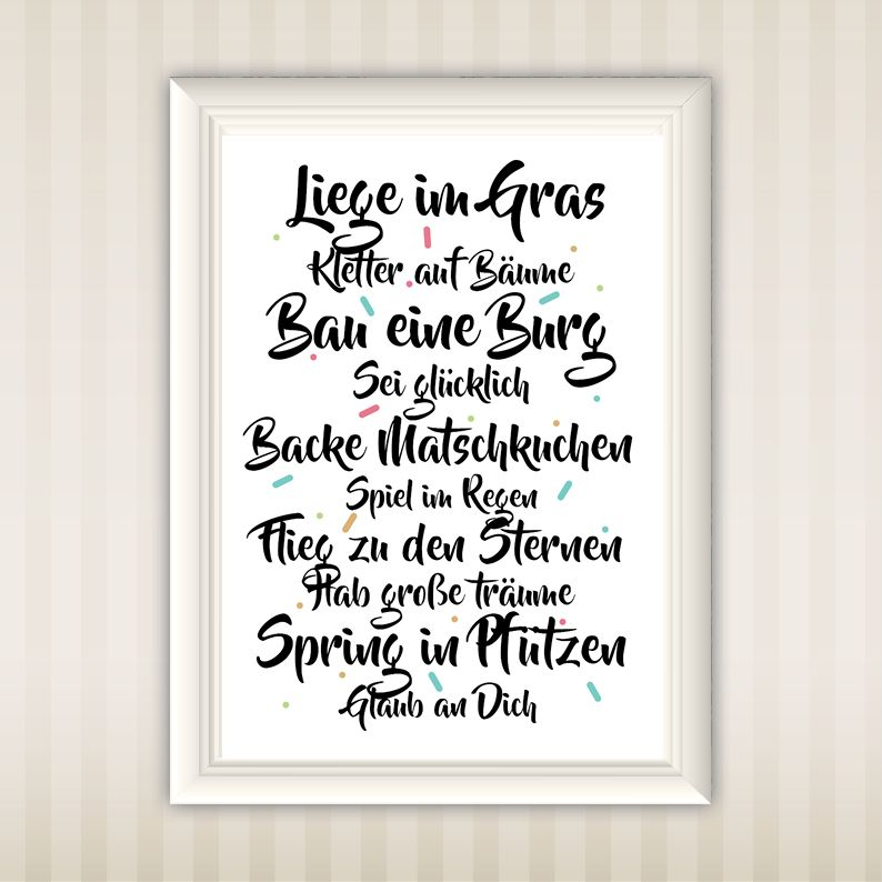 liege im gras typo poster wall art design. Black Bedroom Furniture Sets. Home Design Ideas