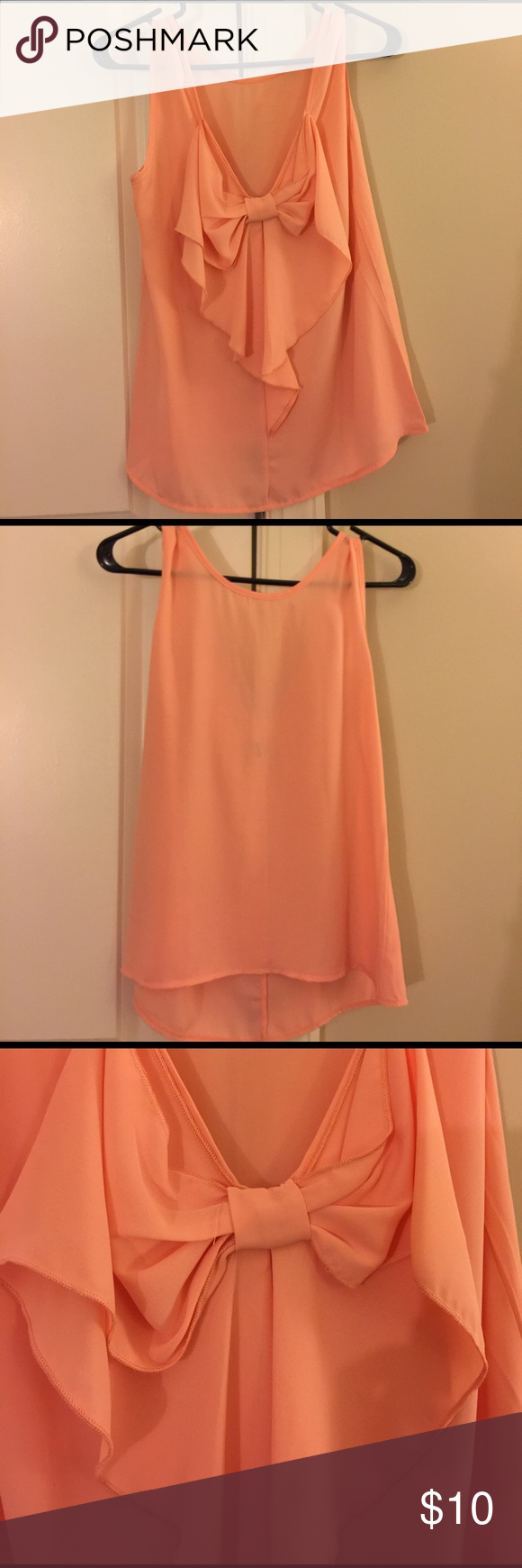 Francesca's Collections Peach Sheer Top  Francesca's Collections Peach Sheer Top . Worn once. I actually wore with a necklace I'm selling in my closet and the white skirt with purple/blue flowers (also in my closet). Bow is the back! Perfect for upcoming spring and summer! Get your wardrobe ready now :) Francesca's Collections Tops Tank Tops