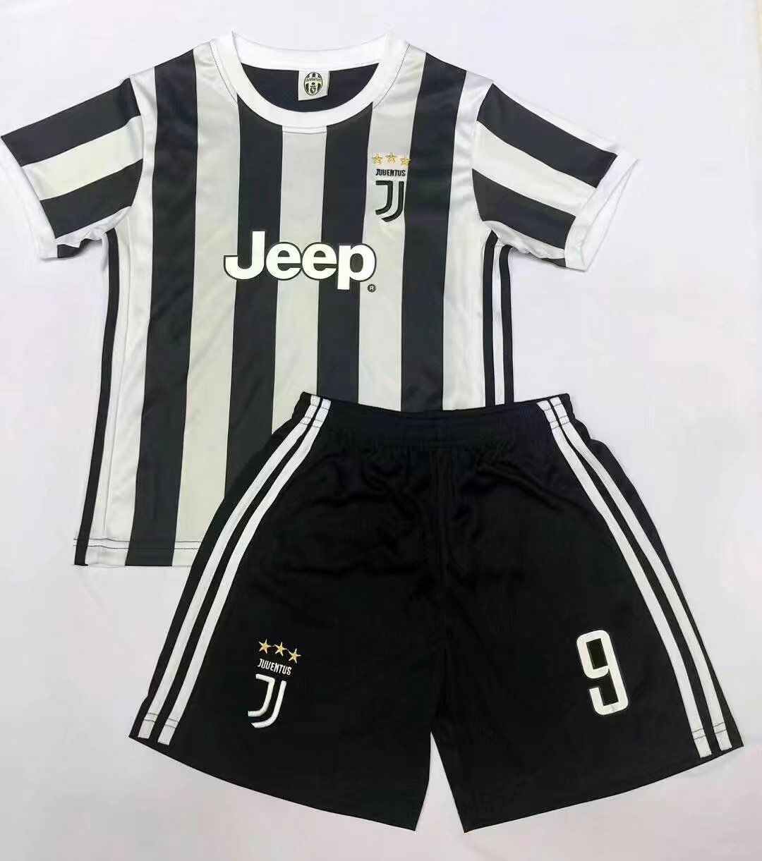 buy online 351fc 6df52 17-18 Cheap Kids Juventus Home Soccer Jersey Uniform Black ...