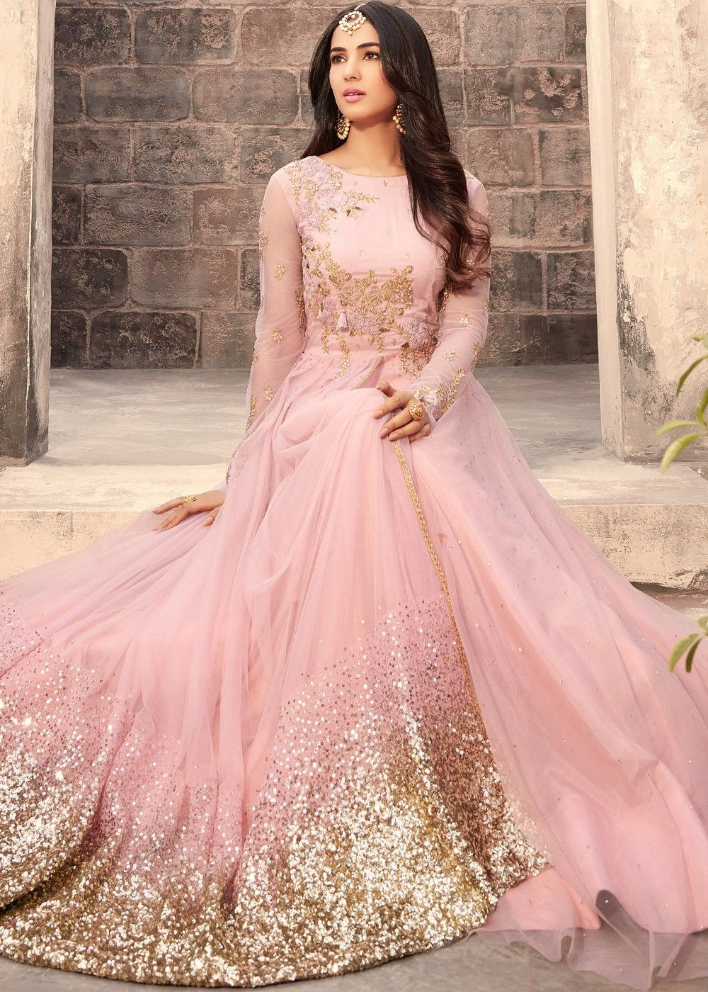 9cd3c5655c Sonal Chauhan Pink Net Abaya Style Layered Suit Scinitllating Suits 1862SL03