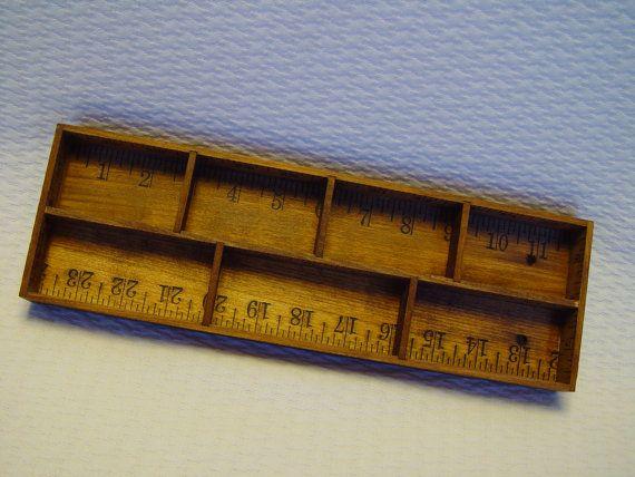 Vintage Wooden Ruler Wall Hanger Box Divided Tray by GandTVintage, $15.00