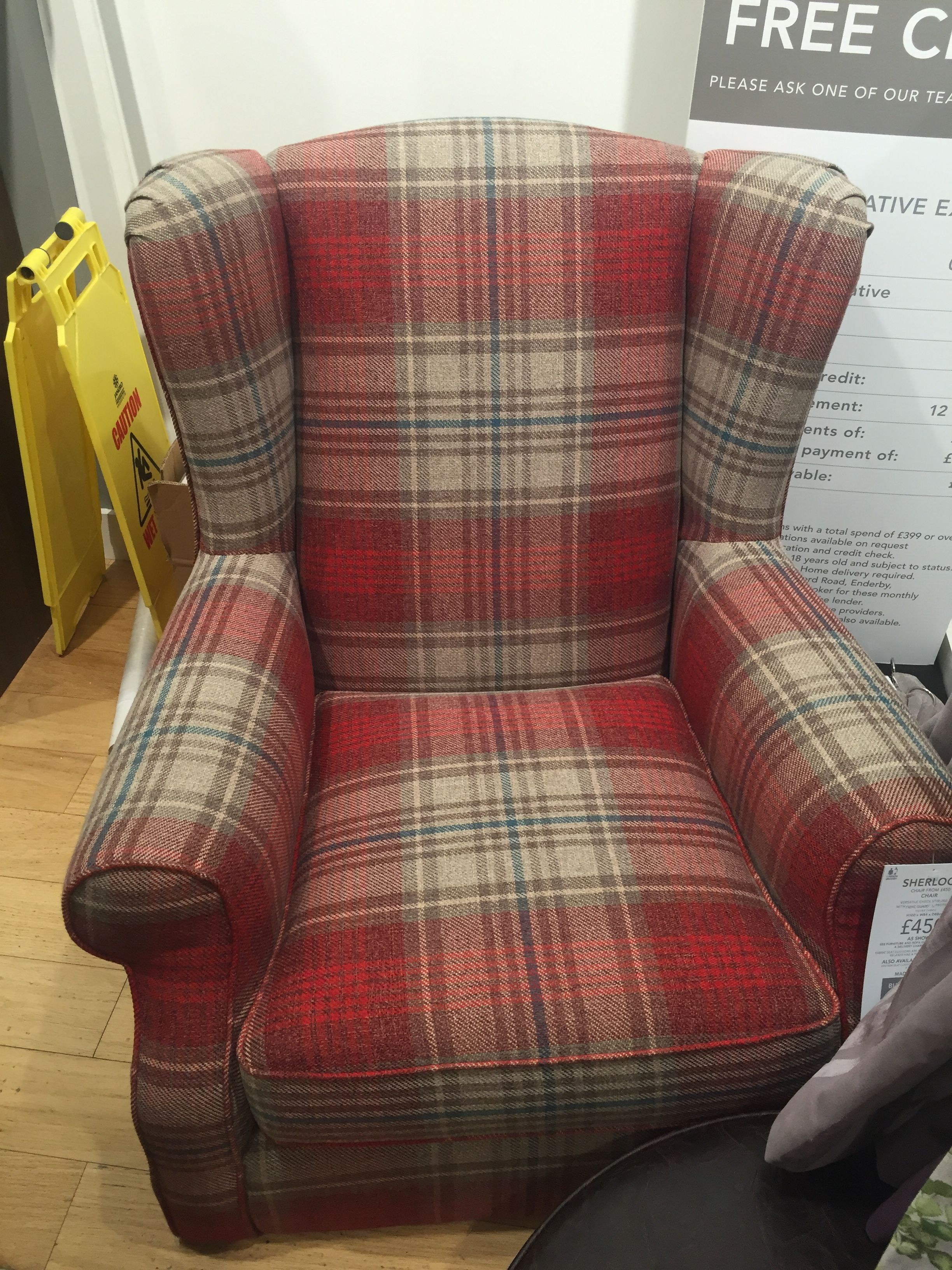Next House Fabric   Versatile Check Stirling Red
