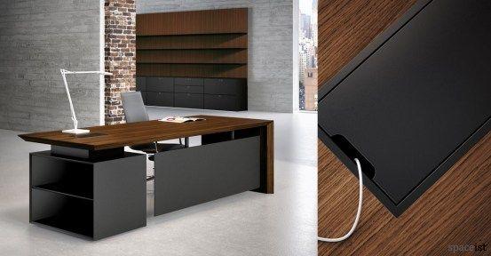 CEO walnut desk with black storage | Cosas curiosas y varias ...