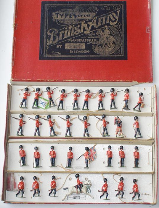 Britains Set #102 Grenadier Guards, Scots Guards, Irish Guards display,  prewar, 33 pieces, gold-and-black label box, est. $3…   Toy soldiers, Old  toys, Antique toys