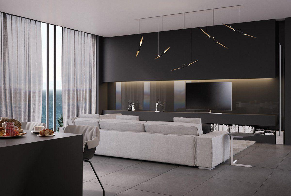 Peinture Noir Mat Dans Le Salon Moderne Baies Vitrees Carrelage Gris Anthracite Et Canape Blanc Meuble Salon Design Salon Moderne Architecte Interieur