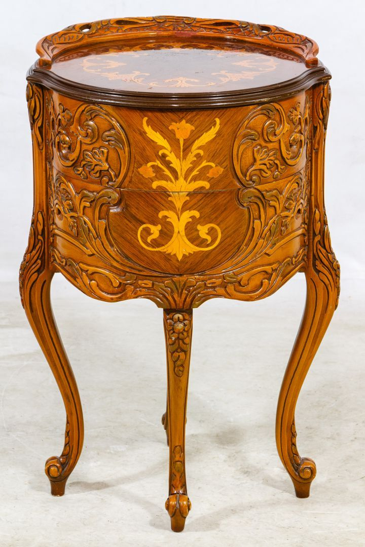 Lot 48: Mahogany Carved and Inlaid End Table; Italian inlaid table with two drawers and carved serpentine legs