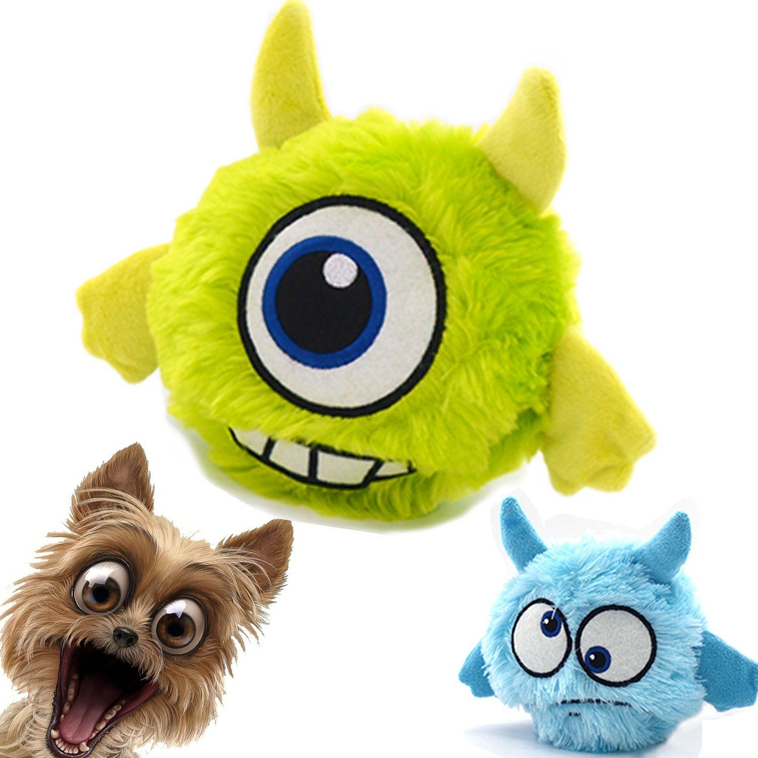Dog Toy Plush Squeaky Ball Interactive Automatic