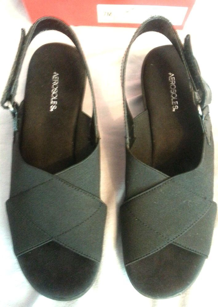 a3c341d7b8fc Aerosoles Badlands Womens Size 7M Black Open Toe Fabric Wedge Sandals Shoes  Used  Aerosoles  PlatformsWedges