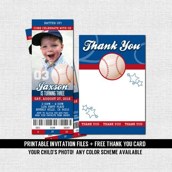Baseball Ticket Invitations Birthday Party Bonus Thank You
