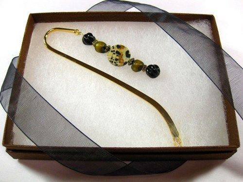 #Bookmark with #Dalmatian Jasper Disc, Gold Accents, #Readers Book Lovers by #TheTwistedRedhead #ArtFire