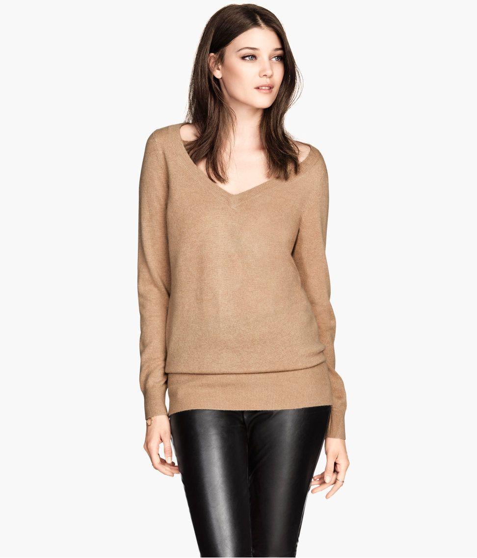 a8b7825d2cd Fine-knit V-neck sweater in camel cashmere.