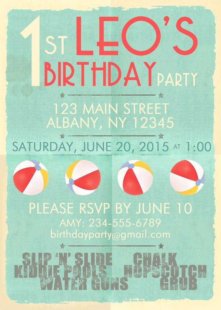 beach party invitation retro beach ball pool surf birthday kids