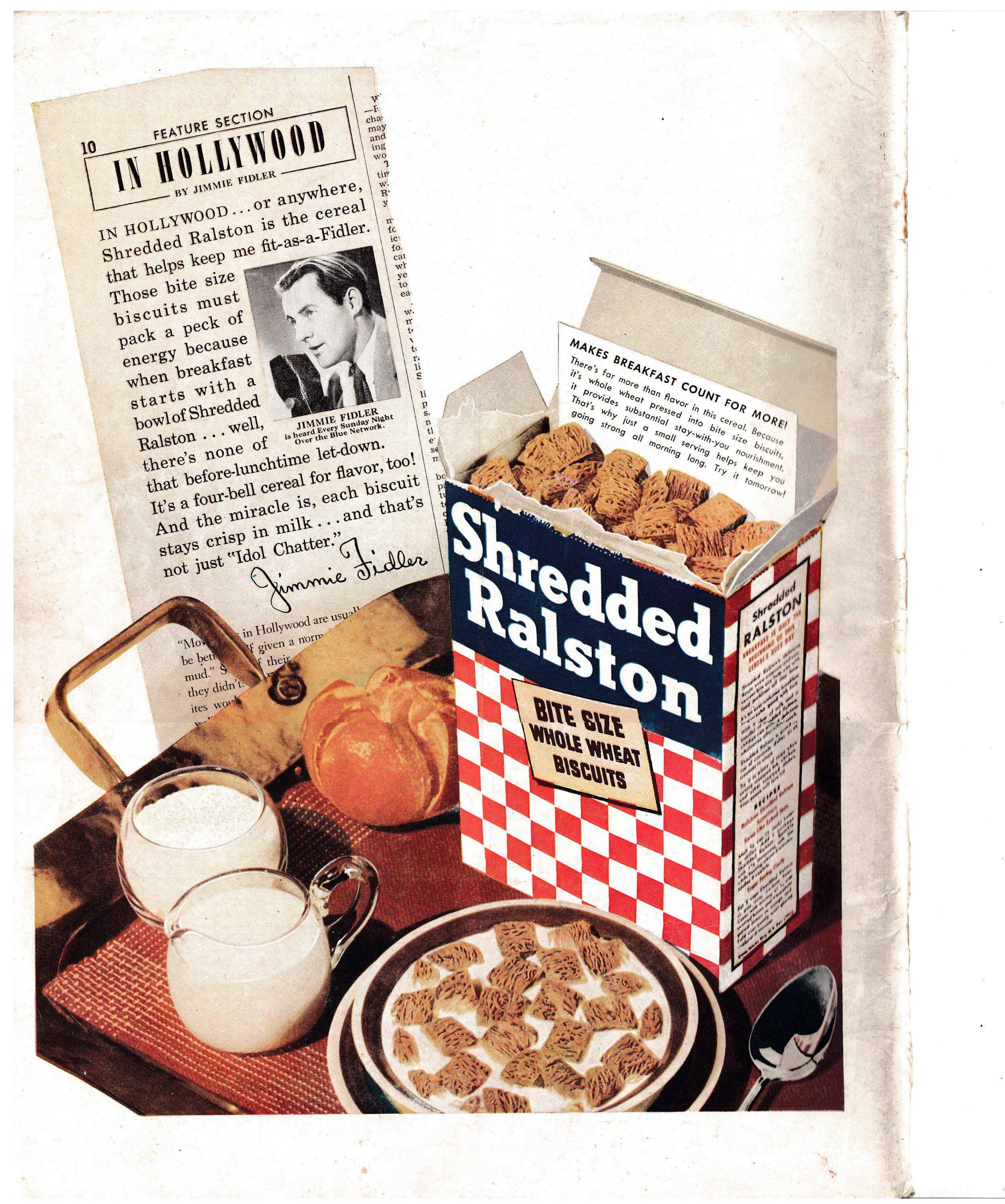 1945 Ralston Shredded Whole Wheat Biscuits-Original 13.5