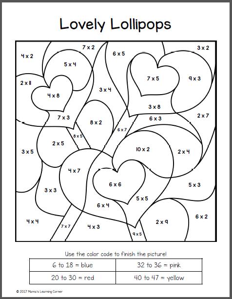 Image result for valentines color by number | Matematica | Pinterest