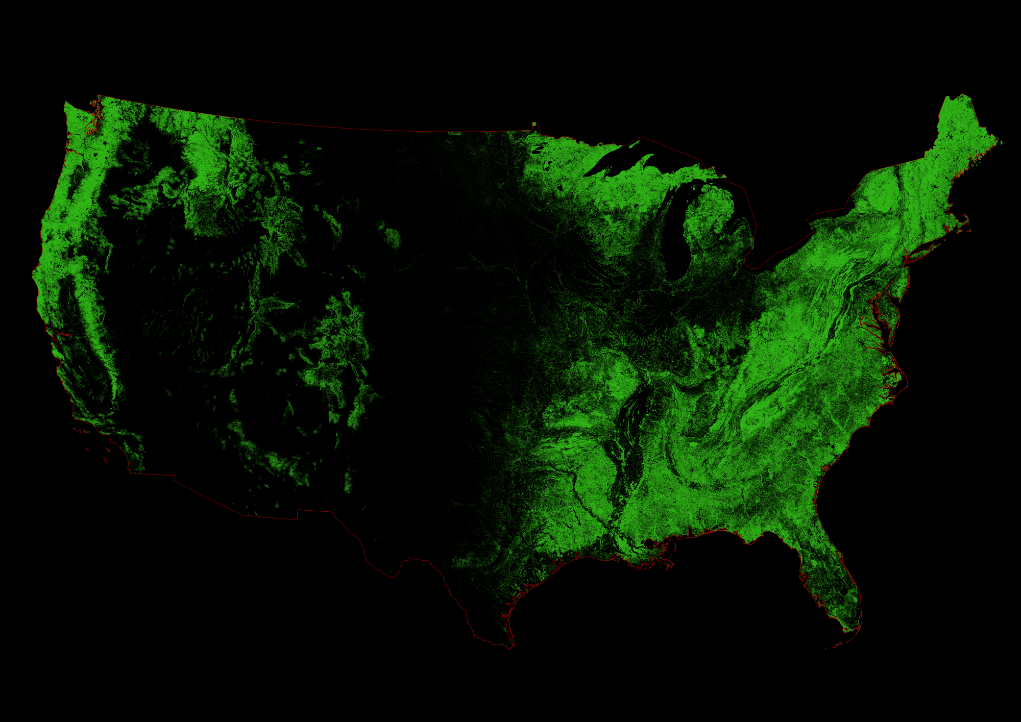 Forest cover map of the Unites States