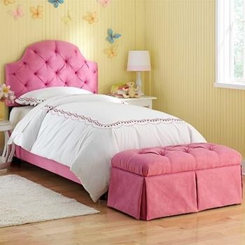 Pink Ellie Tufted Full Bed With Bench With Images Kids Bedroom