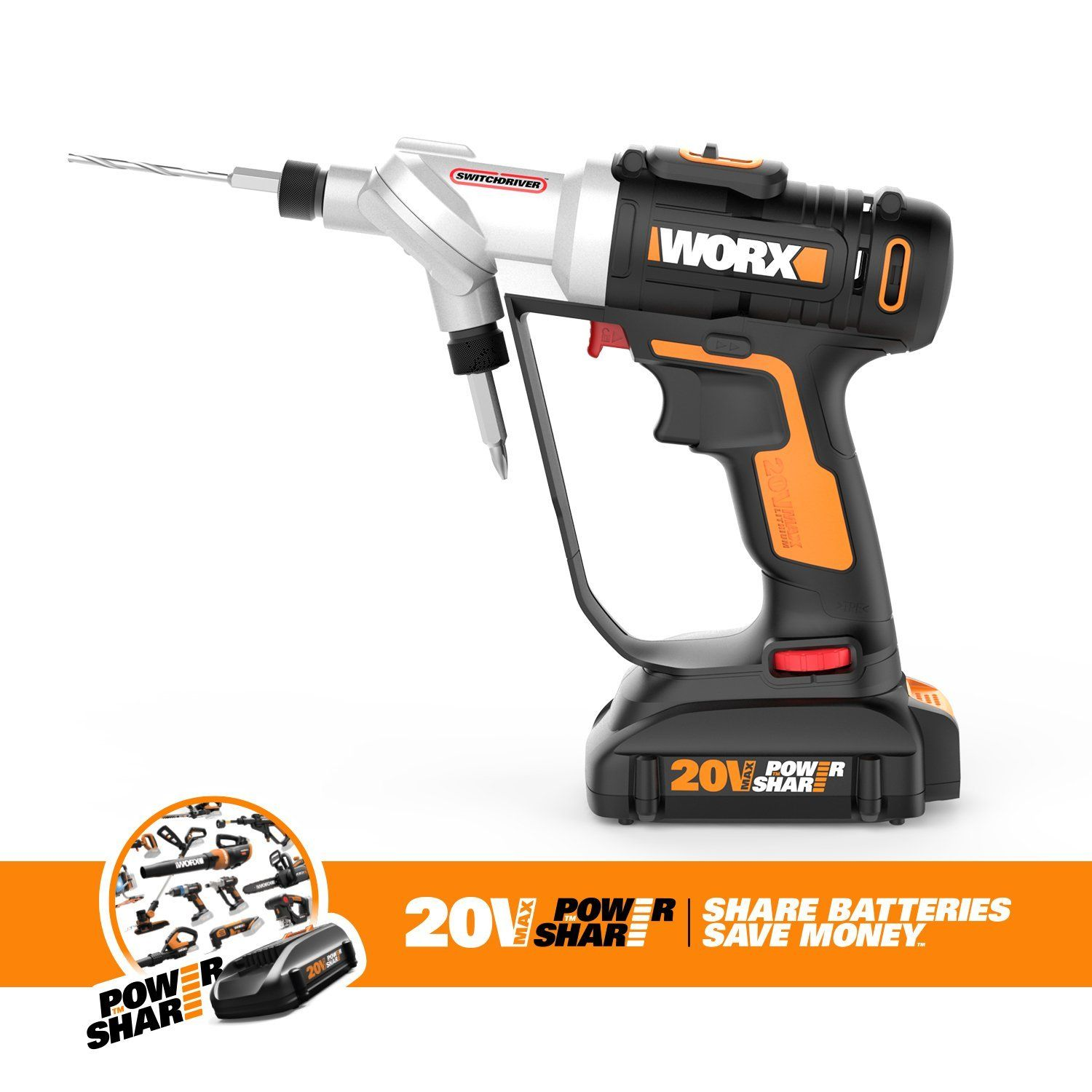 Worx Wx176l 9 20v Switchdriver 2 In 1 Cordless Drill And Driver Tool Only With Rotating Dual Chucks And 2 Speed Motor With Precise Electronic Torque Control To Cordless Drill Drill Driver Tool