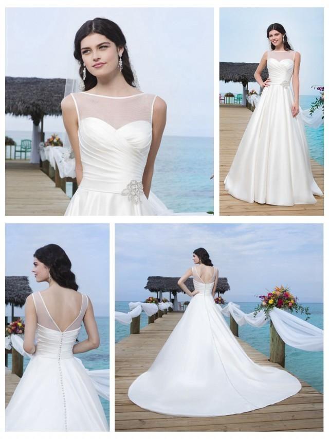 Circular Satin Sabrina Illusion Satin Trim Neckline And Drop Waistline Ball Gown 244951 Spring Wedding Dress Online Wedding Dress Evening Dresses For Weddings