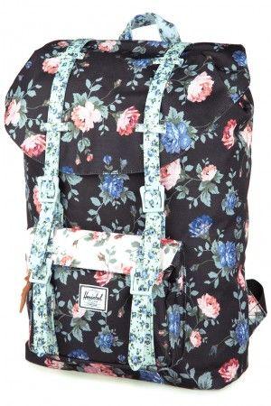 Herschel Little America Rucksack Mid Volume (black floral pink)  5cca3671b9a4b