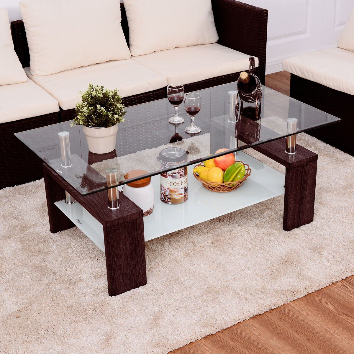 Rectangular Tempered Glass Coffee Table W Shelf Wood Living Room Furniture Allblessings Glass Coffee Tables Living Room Coffee Table Wood Furniture Living Room [ 1200 x 1200 Pixel ]
