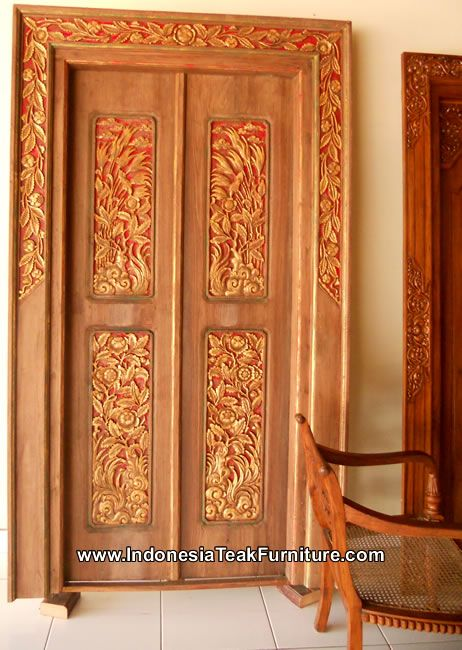 Carved Wood Door Indonesia Bali Traditional Balinese Carvings Ethnic ...