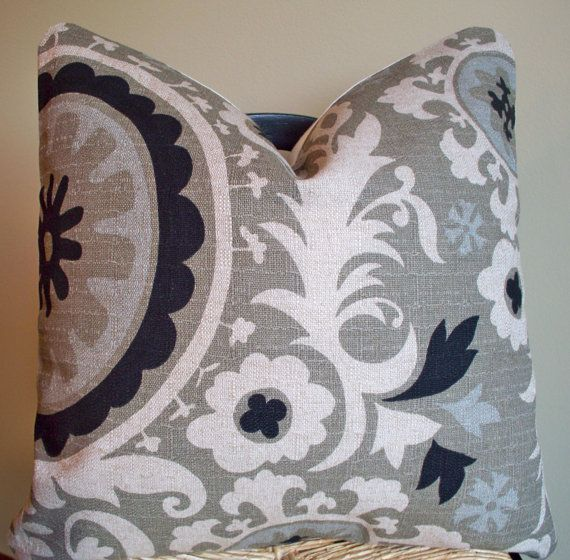 Suzani Decorative Pillow Gray/Black/Blue - 18 X 18. $30.00, via Etsy.
