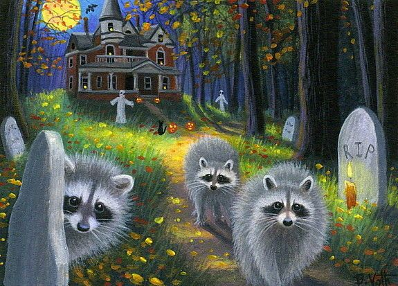 Raccoons Halloween Haunted House Ghosts Moon Forest Original Aceo Painting Art Raccoon Halloween Halloween Haunted Houses Ghost Cat
