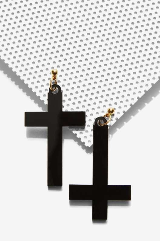 I Still Love You NYC Right Side Wrong Side Cross Earrings