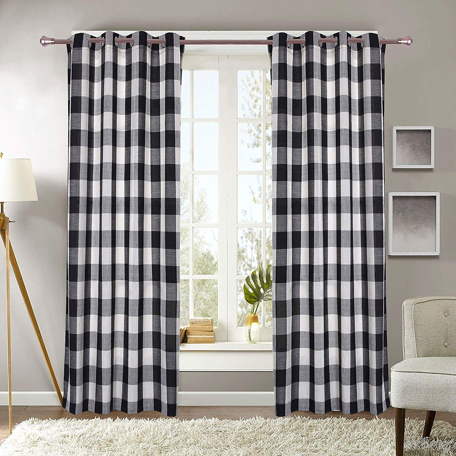 Decotex 2 Piece Plaid Courtyard Buffalo Checkered Grommet Top Window Curtain Panel Drapes 2 Panels 53 X 63 Black Beige Walmart Com Curtains Buffalo Plaid Curtains Custom Drapes
