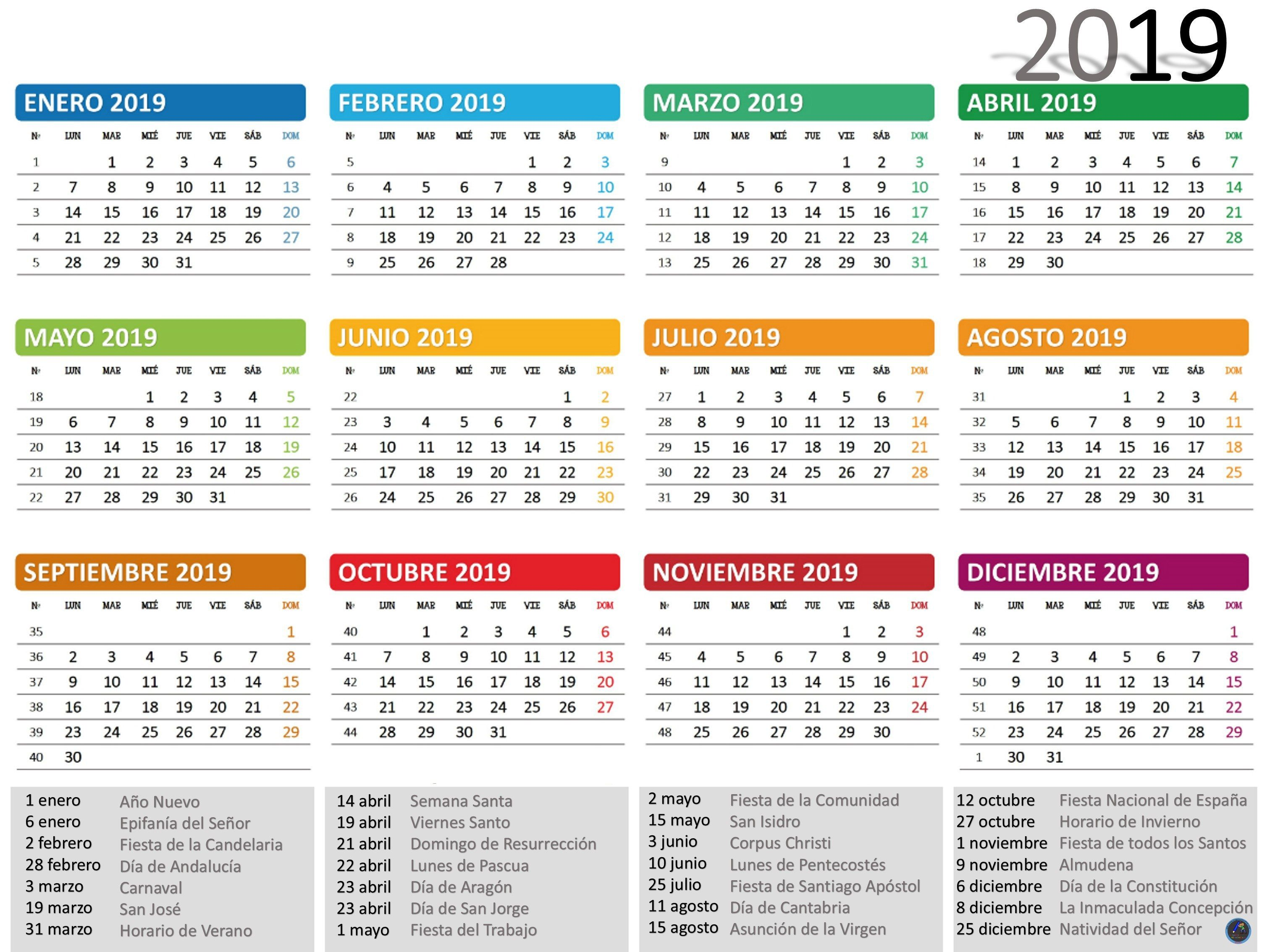 Calendario Rainbow.Calendario 2019 Calendario 2019 Calendar 2019 One Page