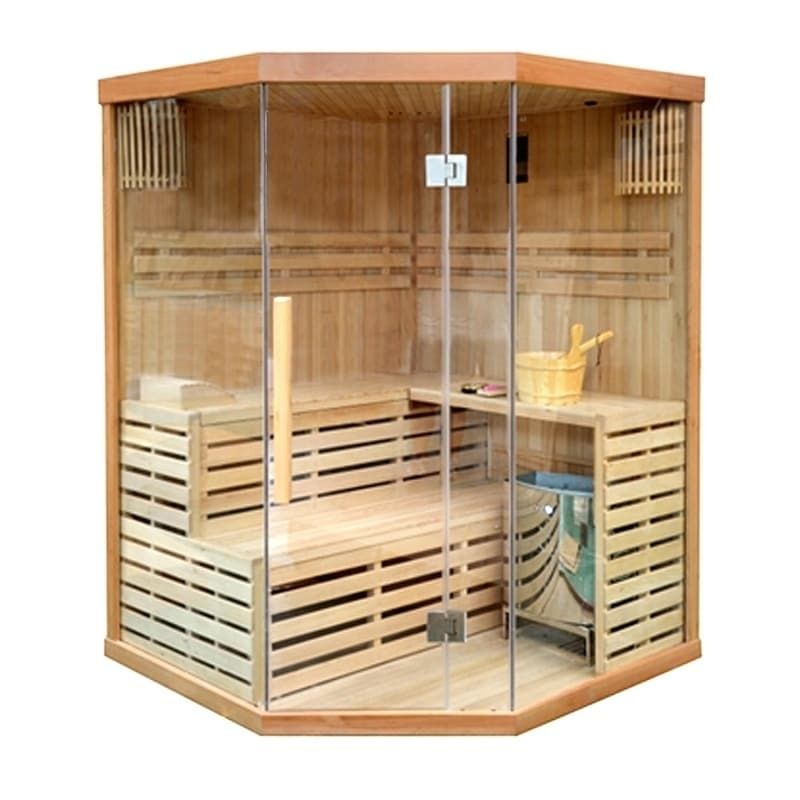 Aleko Wood Indoor Wet Dry Sauna 4 Person With Etl Electric Heater